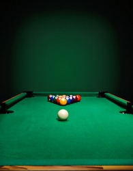 The game of billiards on a table with green cloth