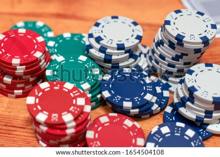 The game of poker. Chips, bets on the table.