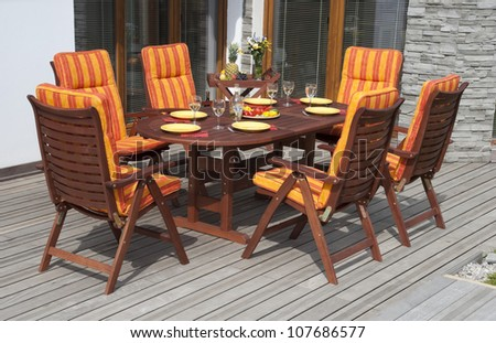 The Garden furniture by the house patio