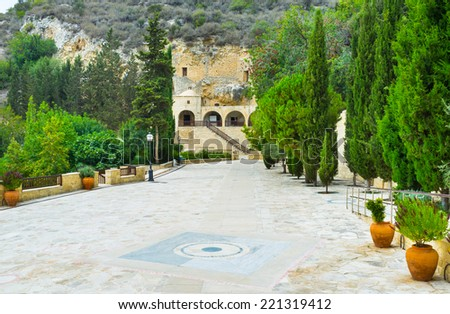 The garden of Saint Neophytos Monastery leads to the old church built in rock with the cave (Engleistra) very notable for pilgrims, Cyprus.