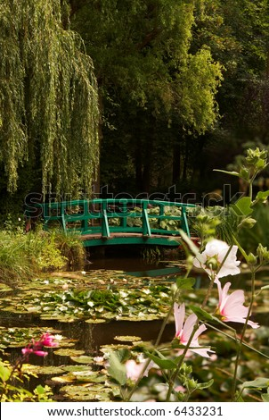 The garden of the famous painter Claude Monet, where he painted his water lilies - stock photo