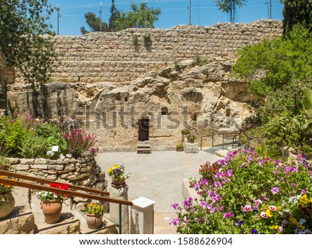 The Garden Tomb, entrance to the tomb cut into the rock. The Garden Tomb, site of pilgrimage, rock tomb outside the walls of the Old City of Jerusalem, Israel