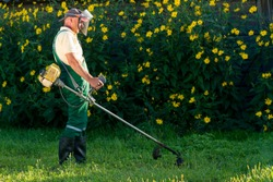The gardener mows the grass with a lawn mower.