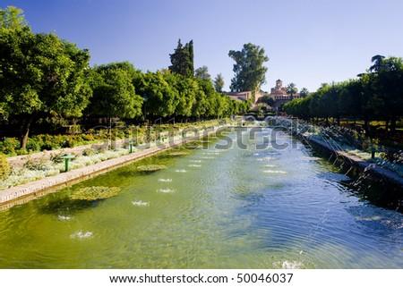The gardens of the Alcazar of Catholic Kings, Cordoba, Andalusia, Spain