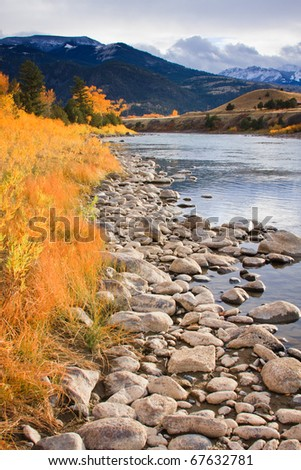 The Gardiner River on a warm fall day, Montana.