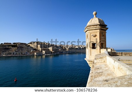 The Gardjola, at the edge of the bastions overlooking the Grand Harbor, Malta.