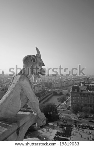 The Gargoyles of Notre Dame looking out over Paris