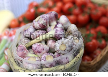 The garlic for sale in a market