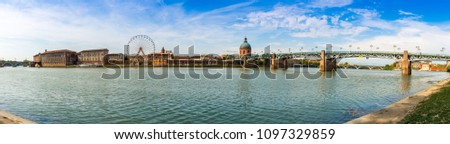 The Garonne river and its bridges in Toulouse in Haute-Garonne, Occitania, France