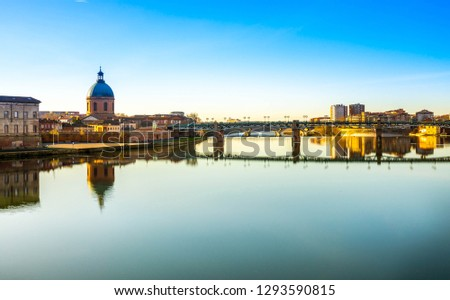 The Garonne river at sunset in Toulouse in Occitania, France #1293590815