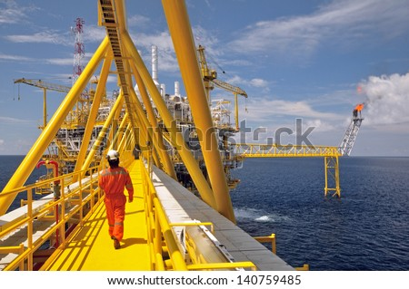 The gas flare is on the oil rig platform in the gulf of thailand