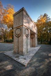 The Gate of the Kiss (Poarta sarutului) sculpture made by Constantin Brancusi in Targu Jiu, Romania - amazing autumn wide angle view