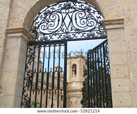 The gate to the church at Melliha village on Malta