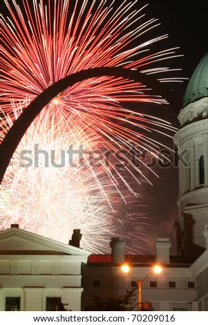 The Gateway Arch and fireworks: Black arch