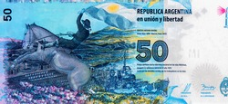 The gaucho Antonio Rivero on a horse with the flag of Argentina. (Islas Malvinas), Portrait from Argentina 50 Pesos 2015 Banknotes. An Old paper banknote, vintage retro. Famous ancient Banknotes.
