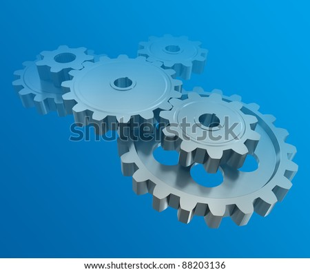 The gear wheels on a blue background