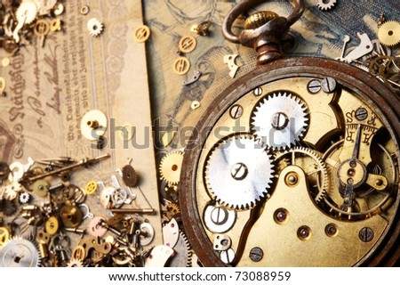 The gears on the old banknote #73088959