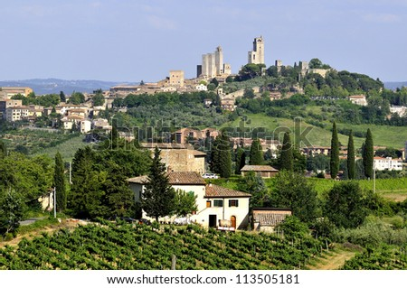 The general view of san gimignano - stock photo