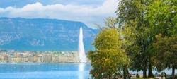 The Geneva Water Fountain, Jet d'Eau. Lake Geneva , Switzerland.