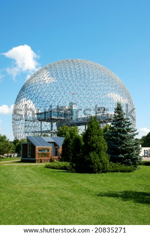 The geodesic dome called Biosphere is a museum in Montreal dedicated to water and the environment. It is located at Parc Jean-Drapeau, on Saint Helen's Island.