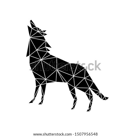 The geometric figure of a howling wolf made of black triangles on a white background. Modern minimalism in the style of trigonometry.