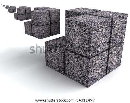 The geometrical image with infinitely varying cubes - stock photo