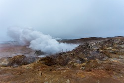 The geothermal area of Gunnuhver is located in the western part of the Reykjanes peninsula