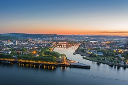 The German Corner (Deutsches Eck) in Koblenz at sunset, Germany