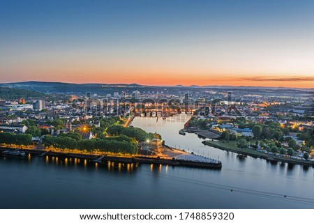 The German Corner (Deutsches Eck) in Koblenz at sunset, Germany Stock foto ©