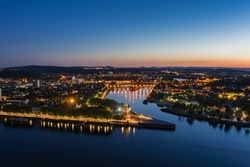 The German Corner (Deutsches Eck) in Koblenz by night, Germany