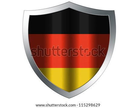 The German flag painted on protection shield