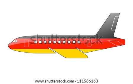 The German flag painted on the silhouette of a aircraft. glossy illustration