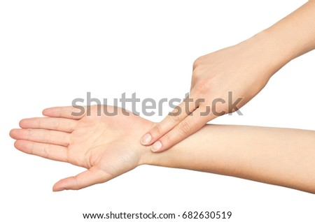 The gesture of a female hands Checks pulse with a fingers