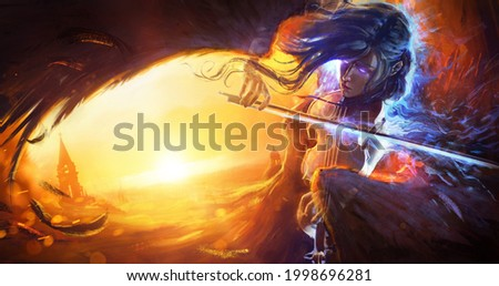 The ghost of an angel woman with black wings, she plays music on a magic violin creating a magical blue flame. a girl flies over a medieval city against the background of a juicy bright sunset. 2d art