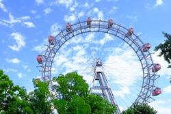 The Giant Ferris Wheel in Prater amusement park, popular tourist attraction in Vienna, Austria.