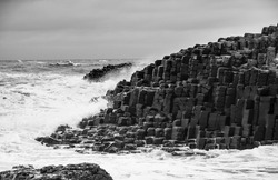 The Giant's Causeway,UNESCO World Heritage Site, located on the north County Antrim coast of Northern Ireland.Known for its interlocking hexagonal basalt columns formed by an ancient volcanic eruption