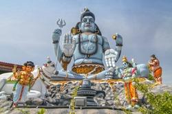 The giant statue of god Shiva at Koneswaram temple of Trincomalee, Sri Lanka.