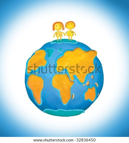 The girl and the boy cost on a planet the Earth an illustration - stock photo