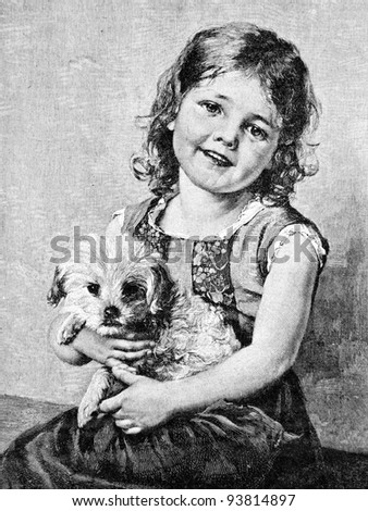 """The girl and the little puppy. Engraving by Klyuss from picture by painter Wagner. Published in magazine """"Niva"""", publishing house A.F. Marx, St. Petersburg, Russia, 1893"""