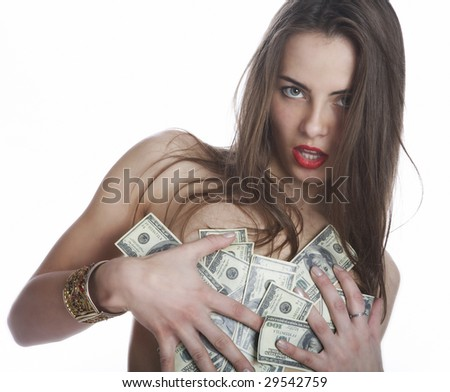 The girl and the money on a white background