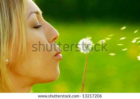 The girl blows on a dandelion on a background of a grass