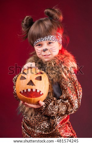 The girl cat on Halloween #481574245