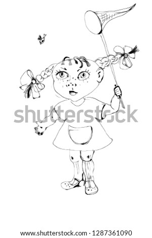 the girl catches a fly with a net