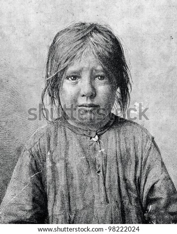 """The girl crying. Engraving by Angerer from picture by Korneev. Published in magazine """"Niva"""", publishing house A.F. Marx, St. Petersburg, Russia, 1888"""