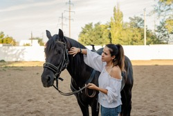 The girl enjoys the beauty of the black stallion. Young woman stroking a horse, horse farm