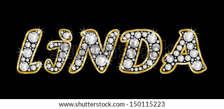 The Girl Female Name Linda Made Of A Shiny Diamonds Style