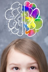 The girl has a brain drawn above her head, each hemisphere can work with something different.