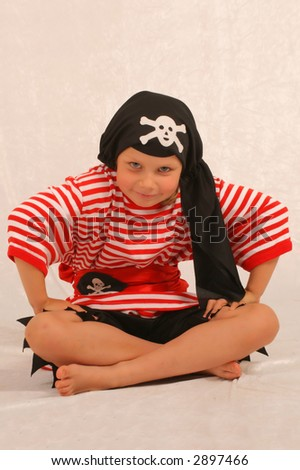 The girl in a fancy dress of the pirate