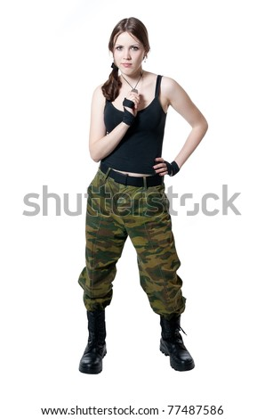 The girl in a military uniform isolated on white