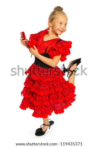the girl in a red Spanish dress.standing the girl has shoes on a high heel (series).isolated on white.